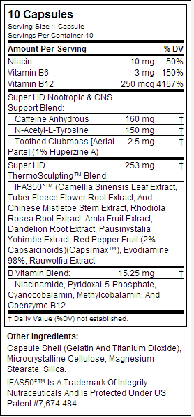 cellucor super hd nutrition label