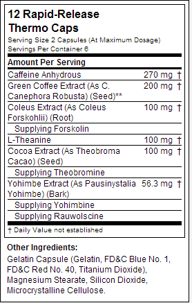 hydroxycut hardcore elite nutrition label