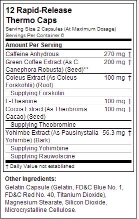 hydroxycut hardcore elite nutrition label
