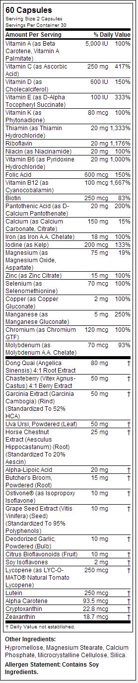 opti kababaihan nutrisyon label