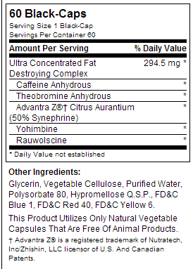 Lipo-6 Black Ultra Concentrate nutrition label
