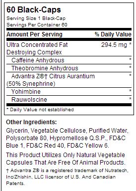 Lipo-6 Black Ultra Concentrate nutrition label