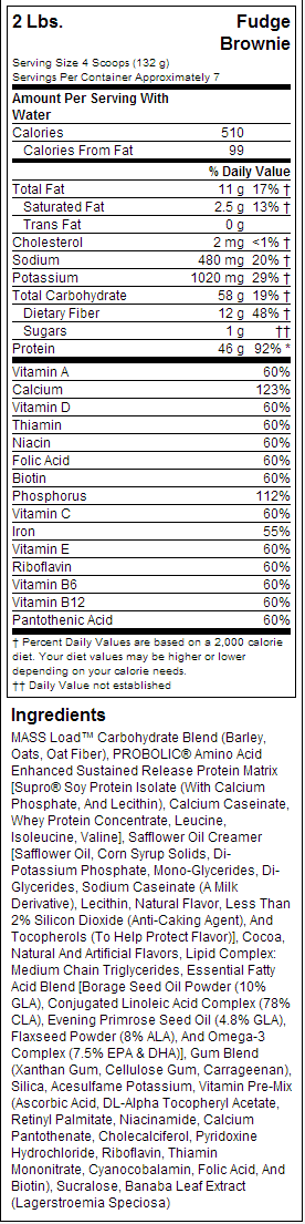 MHP Up Your Mass Nutrition label