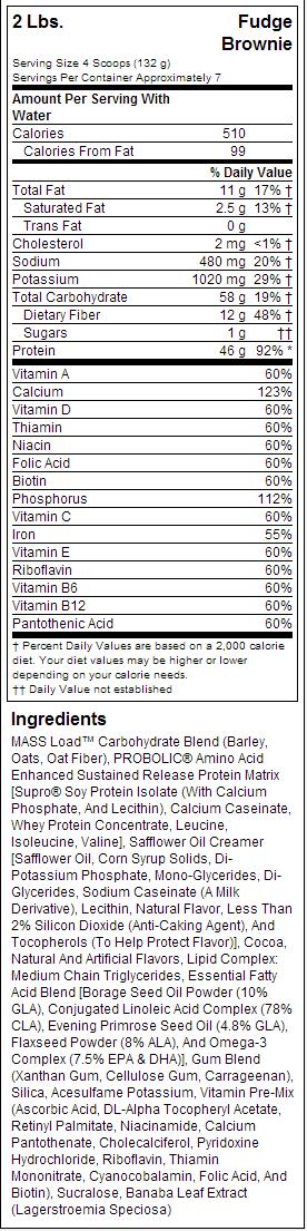 MHP Up Your Μαζικής ετικέτα διατροφή