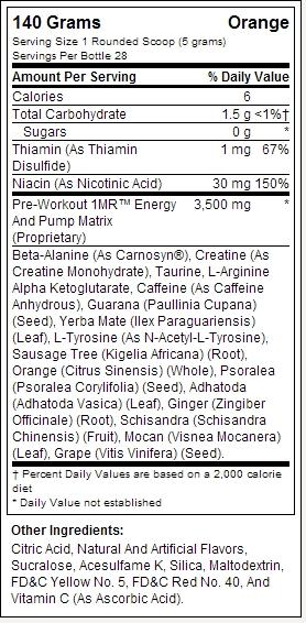 BPI Sports 1mr fatos de rotulagem nutricional