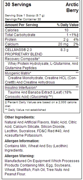 bsn cell mass 2.0 nutrition label