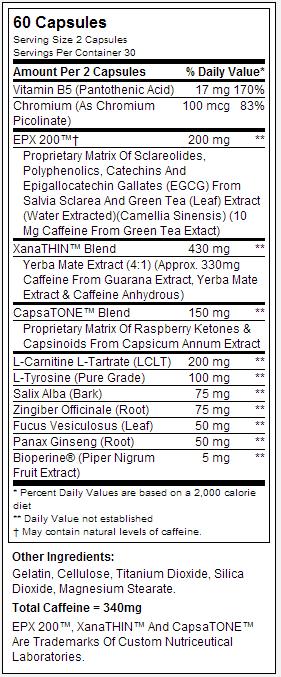 Dymatize Dyma-Burn Xtreme nutritional label