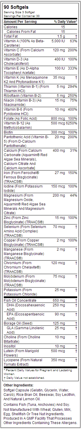 Prenatal Gels + DHA by NOW nutrition label