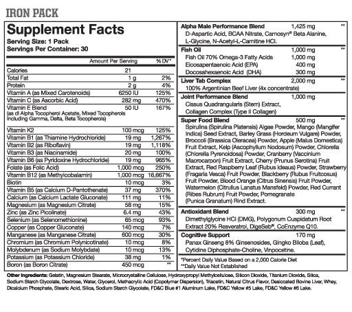 arnold series iron pack multivitamin nutritional label