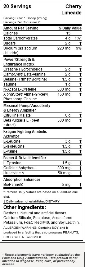 jym pre jym nutrition label
