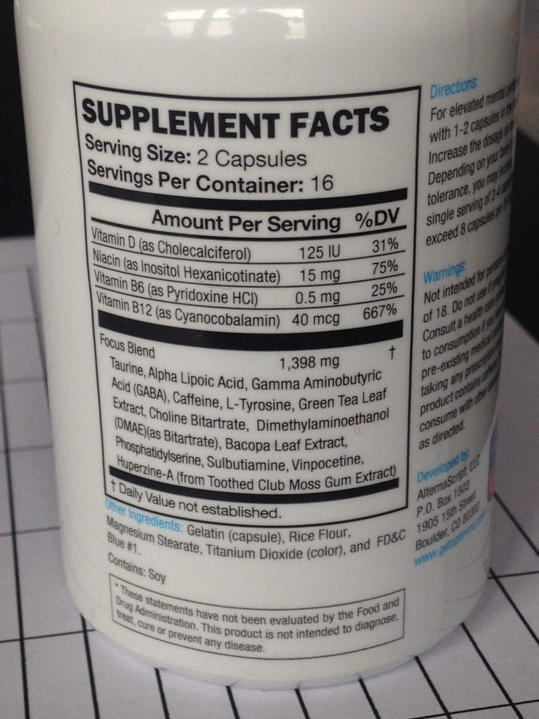Optimind nutritional label