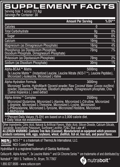 Cellucor Alpha Amino nutritional label facts