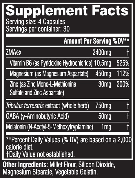 Cellucor COR-Performance ZMA nutritional label facts