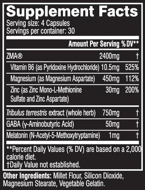 Cellucor COR-Performance ZMA fapte a etichetei nutriționale
