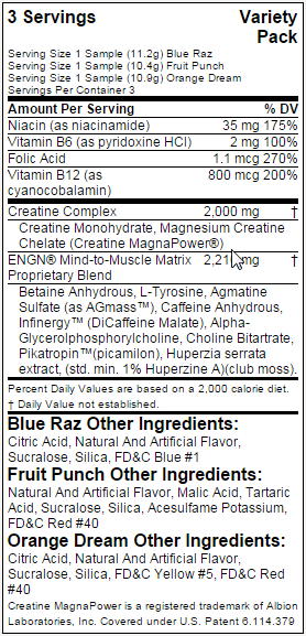 EVL Nutrition ENGN nutritional label facts