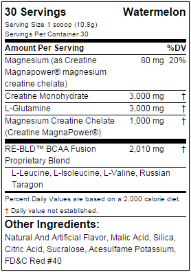 EVL Nutrition RE-BLD nutritional label facts