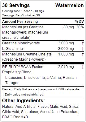 EVL Nutrition RE-BLD nutritional label facts