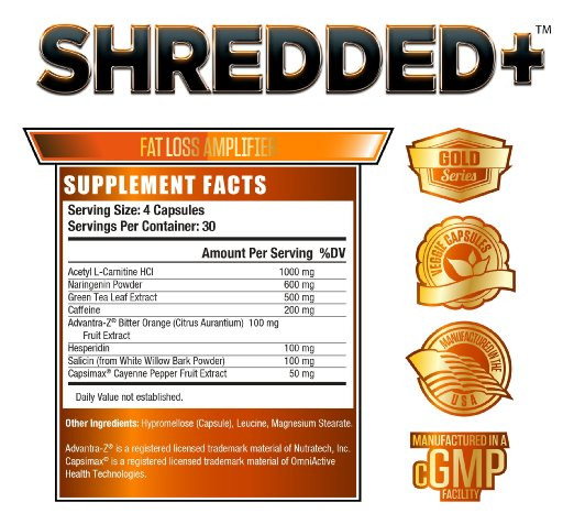 Jacked Factory Shredded+ nutritional label facts