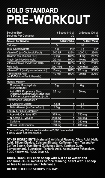 Optimum Nutrition Gold Standard Pre-Workout nutritional label facts