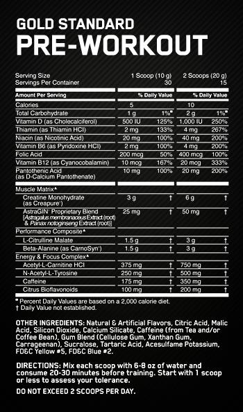 ოპტიმალური კვების Gold Standard Pre-Workout კვების label ფაქტები