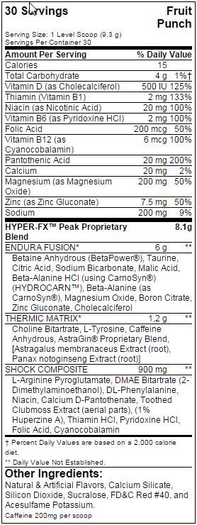 bsn hyper fx nutritional facts