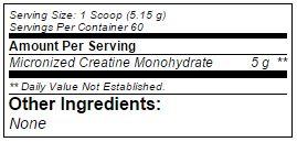 BSN-Creatine-DNA voedingswaarde etiket