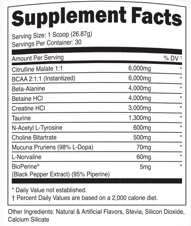 transparent-labs-preseries-stim-free-pre-workout-nutritional label