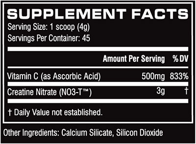 Cellucor CN3 creatine nutrition label