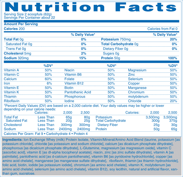Natures Best Zero Carb Isopure nutrition label