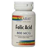 Solaray acido folico capsule, 800mcg