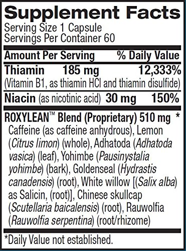 BPI სპორტული RoxyLean დანართი ფაქტები label