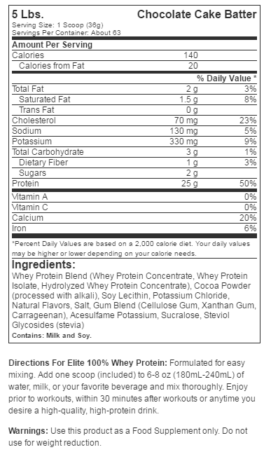 Dymatize Elite Whey Protein Isolate supplement facts label