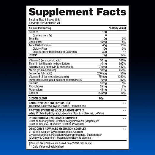 Gaspari Nutrition SizeOn Максимална етикет добавка Изпълнение факти