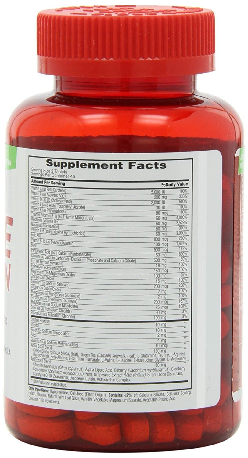 Met-Rx Active Woman supplement facts label