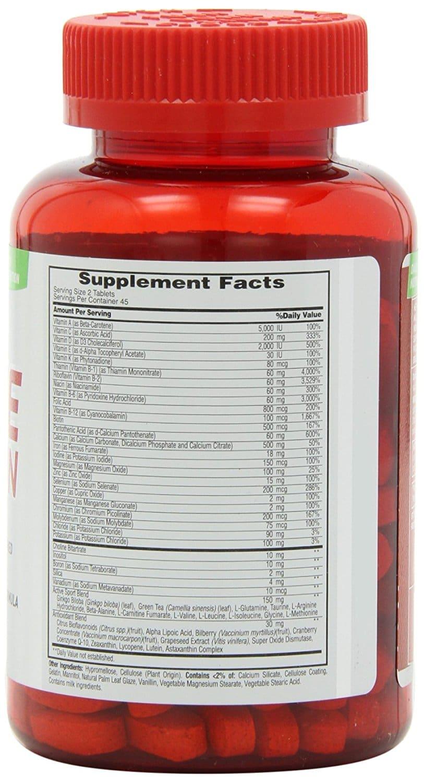 Met-Rx Active Woman supplement facts label