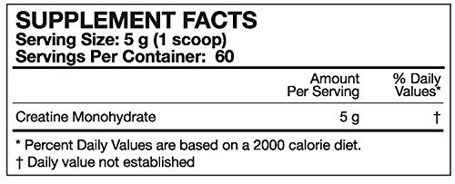MusclePharm Creatine supplement facts label