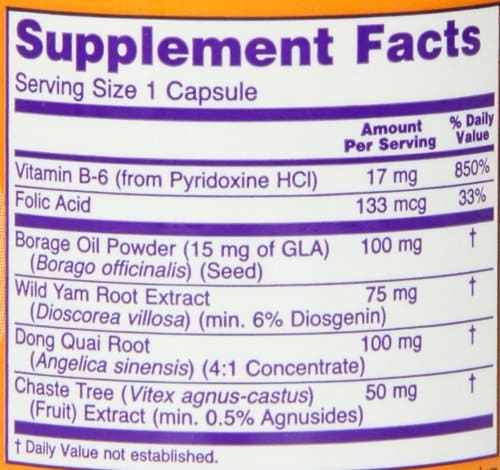NOW Female Balance supplement facts label