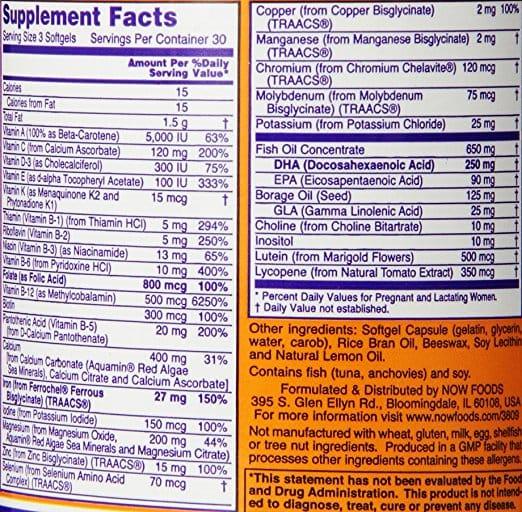 NOW Prenatal Gels supplement facts label