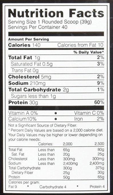Optimum Nutrition Platinum Hydrowhey supplement facts label
