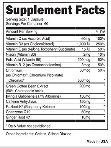 Oxyselect Pink supplement facts label