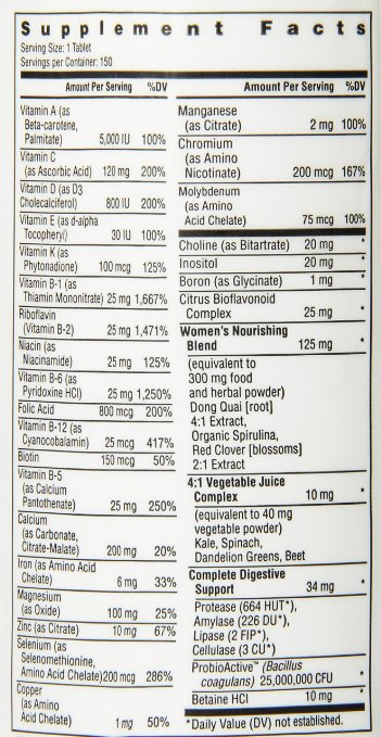 Rainbow Light Womens One Multivitamin supplement facts label