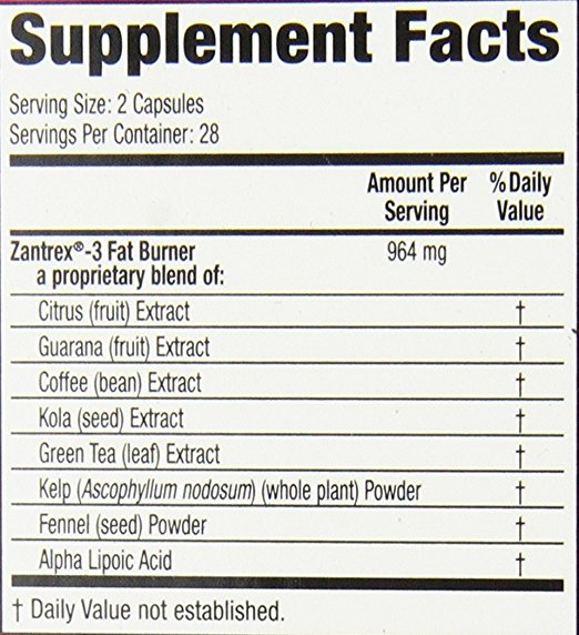 Zantrex-3 supplement facts label