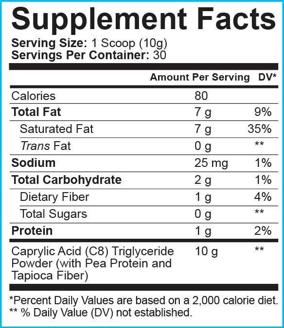 Etiqueta de hechos del suplemento de polvo de aceite de Mct de C8 de Ground Based Nutrition