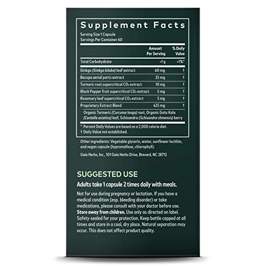 Gaia Herbs Agile Mind Supplement Facts Label
